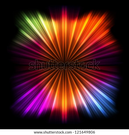 Abstract burst background with neon effects and colorful lights - stock vector