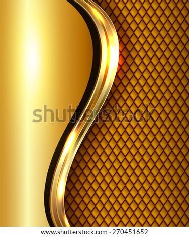 Abstract business background gold with golden metallic wave, elegant vector illustration. - stock vector