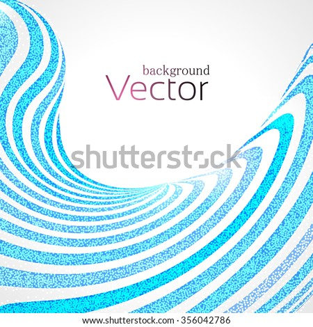 Abstract Business Background with Blue 3d Wave Lines stripes with Dots - stock vector