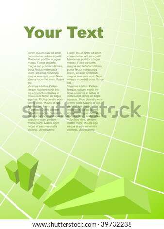 Abstract business background with 3D graph and plenty of copy space.