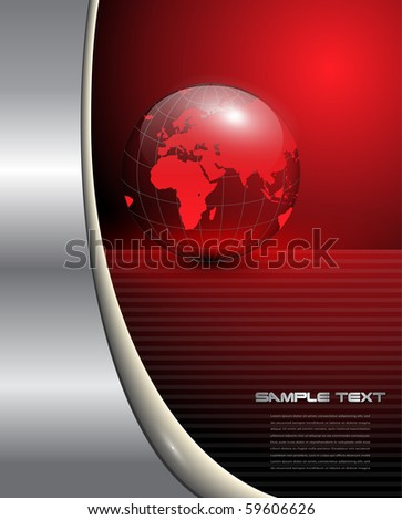 Abstract business background with red earth globe, vector. - stock vector