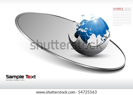 Abstract business background with world globe, blue. - stock vector