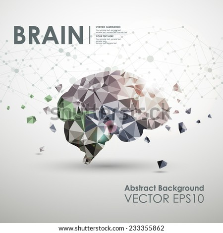 Abstract business brain molecules polygonal design concept of a bright background. Vector illustration