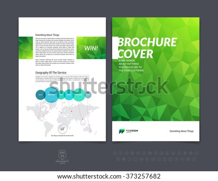 Abstract business brochure, flyer and cover design layout template with green eco polygonal background. Vector illustration.
