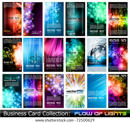 Abstract Business Card Collection: Flow of lights - stock vector