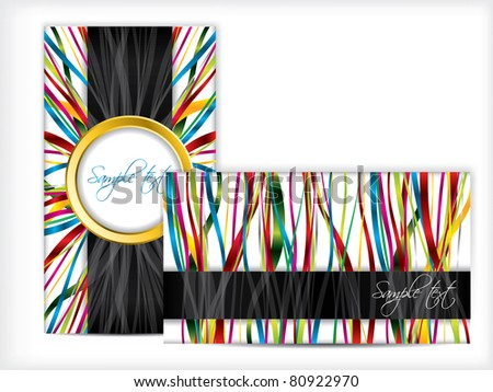 Abstract business card design with ribbons - stock vector