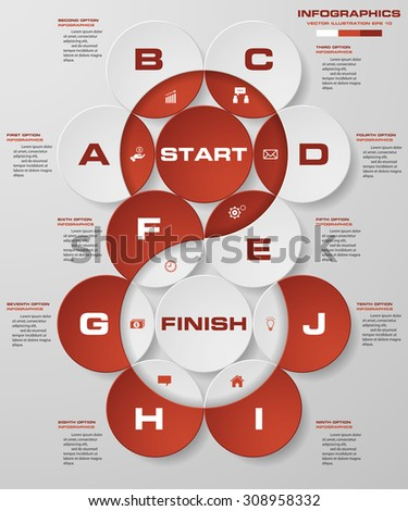 abstract business chart. 10 Steps diagram template/graphic or website layout. Vector. Step by step idea. - stock vector