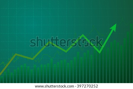 abstract Business chart with uptrend line graph in bull market on green color background (vector)