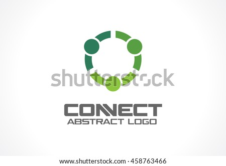 Abstract business company logo. Corporate identity design element. Technology, Social Media Logotype idea. People connect, Circle segment interaction, integrate geometric concept. Colorful Vector icon