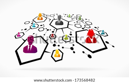 Abstract business network grid illustration - stock vector