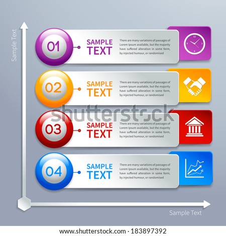Abstract business paper chart infographics layout template with choice buttons and labels vector illustration - stock vector