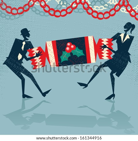 Abstract Business People enjoy Christmas Party. Vector illustration of Retro styled Businessman and Woman pulling a huge christmas cracker at their Christmas party to celebrate a year of success. - stock vector