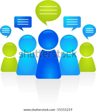 Abstract business people figures with speech bubbles - stock vector