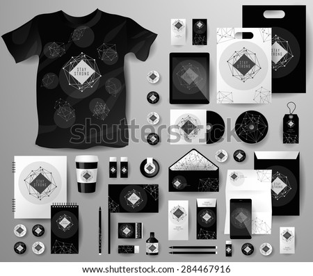 Abstract  business set in Art deco style . Corporate identity templates, notebook, card, flag, T-shirt, Tablet PC, Mobile Phone, matches, ink, paper cup, forms, folders for documents, invitation card - stock vector