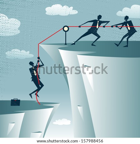Abstract Businessman gets help from the Team. Vector illustration of Retro styled Businessman getting a welcome lift up the corporate mountain with the assistance of his team members.  - stock vector
