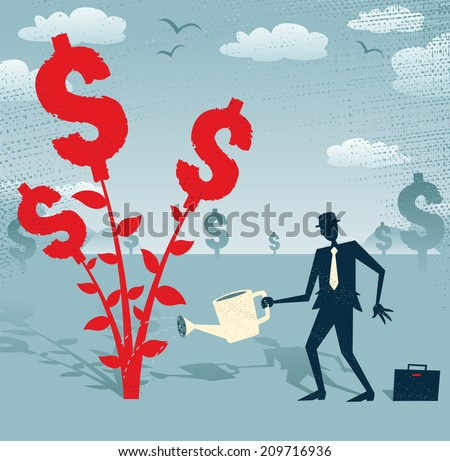 Abstract Businessman grows a Dollar Tree.  Great illustration of Retro styled Businessman nurturing a Dollar Tree with his watering can. - stock vector