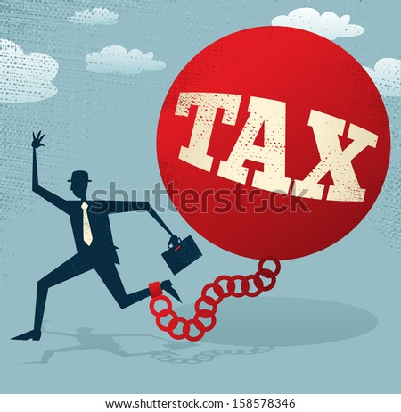 Abstract Businessman locked in a TAX Ball and Chain. Vector illustration of Retro styled Abstract Businessman caught up in a bureaucratic chain and ball. - stock vector