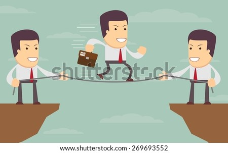 Abstract Businessmen Pulling together on a cliff. Vector illustration of Retro styled Businessman helping and pulling together to assist their stranded colleague on the top of the cliffs. - stock vector