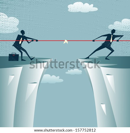 Abstract Businessmen Tug of war on a cliff. Vector illustration of Retro styled Businessmen embroiled in a war of attrition on the top of the cliffs. - stock vector