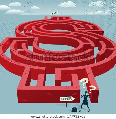 Abstract Businesswoman enters a Dollar Maze. Great illustration of Retro styled Businesswoman with a very difficult task ahead of her to find her way through a Dollar Shaped maze to the other side. - stock vector