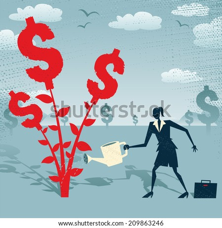 Abstract Businesswoman grows a Dollar Tree. Great illustration of Retro styled Businesswoman nurturing a Dollar Tree with her watering can. - stock vector
