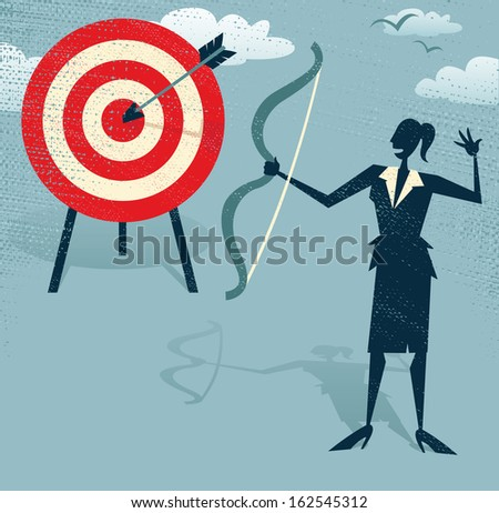 Abstract Businesswoman Hits the Sales Target.  Vector illustration of Retro styled Businesswoman hitting the corporate Sales Charts with a bow and arrow. - stock vector
