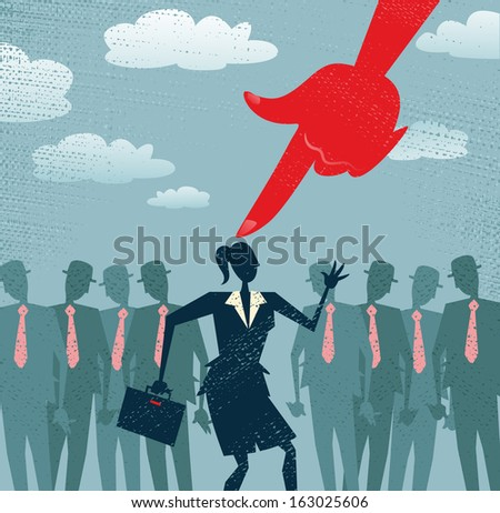 Abstract Businesswoman is Picked and Selected. Great illustration of Retro styled Businesswoman picked out from the crowd by a huge people picking red hand. All recruitment Agencies need one of these! - stock vector