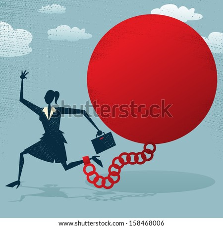Abstract Businesswoman locked in a Ball and Chain. Vector illustration of Retro styled Abstract Businesswoman caught up in a bureaucratic chain and ball.  - stock vector