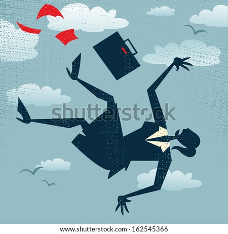 Abstract Businesswoman's career is in Free fall. Vector illustration of Retro styled Businessman is in Free fall as her career takes a fall. - stock vector