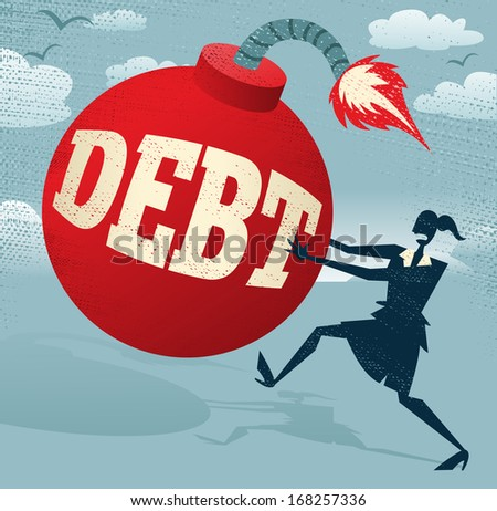 Abstract Businesswoman with Huge Debt Bomb. Great illustration of Retro styled Businesswoman running for her dear life to get rid of the gigantic metaphorical Debt bomb. - stock vector
