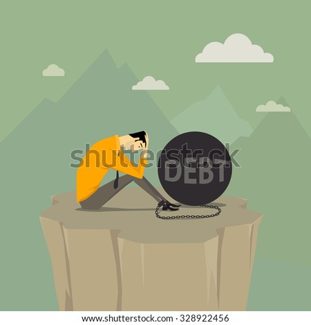Abstract bussiness concept of despondent, The man be trapped on cliff with steel balls. Vector illustration cartoon modern style. - stock vector