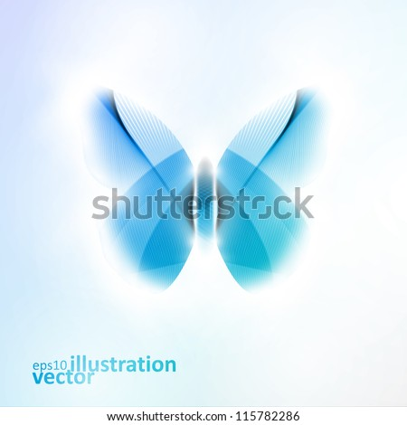 Abstract butterfly, futuristic vector illustration in light background eps10 - stock vector