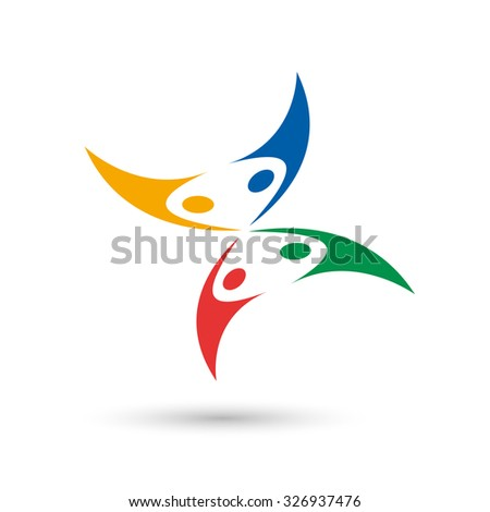 Abstract butterfly, vector happy people jumping