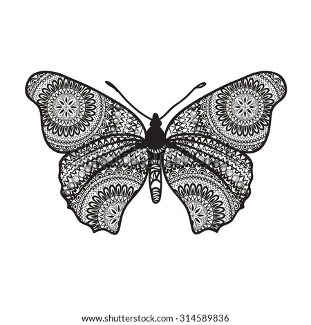 Abstract butterfly with floral grunge texture. Butterfly isolated. - stock vector