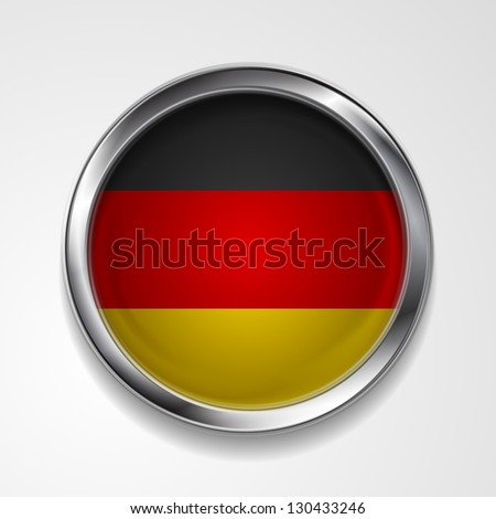 Abstract button with stylish metallic frame. German flag. Eps 10 vector background - stock vector