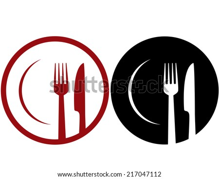 abstract cafe sign with plate, fork and knife - stock vector