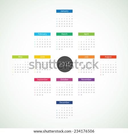 Abstract 2015 Calendar - stock vector