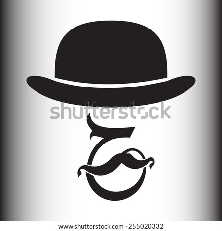 Abstract-calligraphically hipster silhouette with bowler hat and mustache - stock vector
