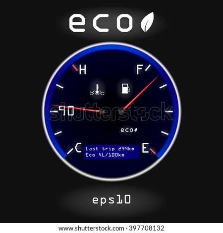 Abstract car fuel and temperature gauge on black background. Concept of fuel economy - stock vector