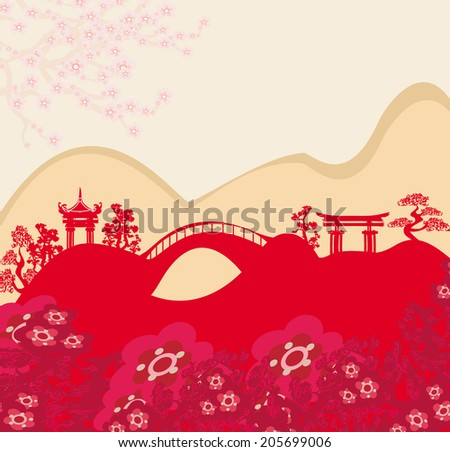 Abstract card with Asian buildings - stock vector