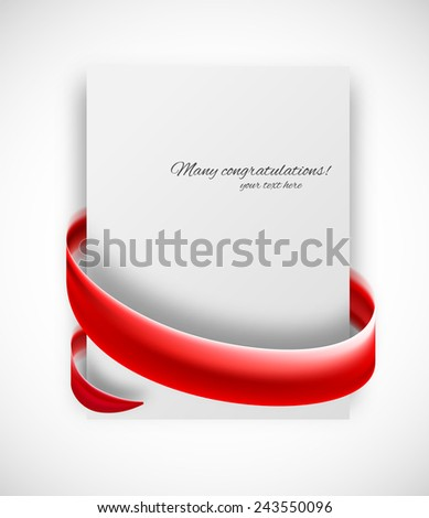 Abstract card with red ribbon. Vector gift banner - stock vector