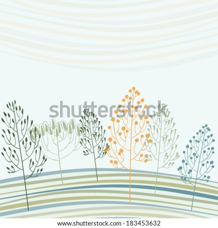 Abstract card with stylized forest - stock vector