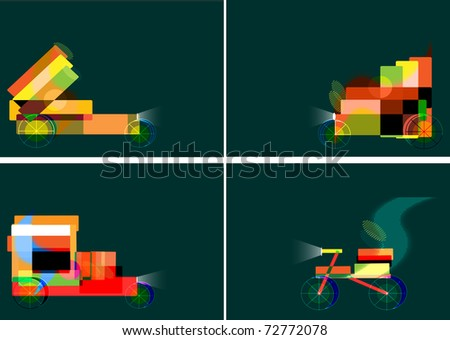 Abstract cars from geometrical forms against a dark background