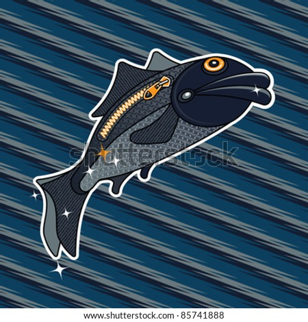 Abstract cartoon inspired fish with zipper on one side flying over the textured striped marine background. Print. Vector illustration. - stock vector