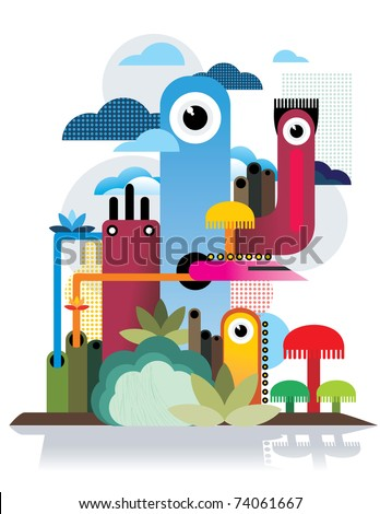 abstract cartoon vector