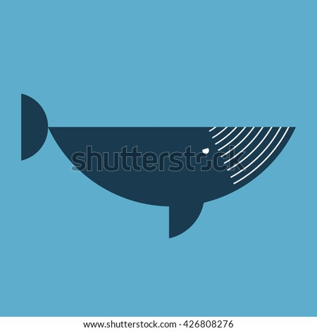 Abstract cartoon whale. Geometric whale. Flat whale dark blue color. An adult whale swimming in the water. Logo. Icon. Vector. Logo. Icon. - stock vector