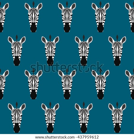 Abstract cartoon zebra portrait seamless pattern background. - stock vector