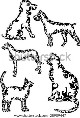 abstract cats and dogs - stock vector