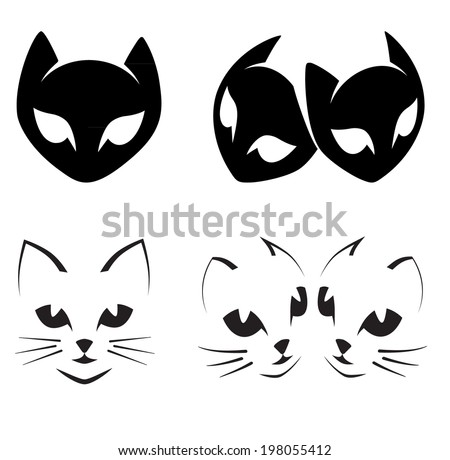 Abstract cats icons on white - set. - stock vector