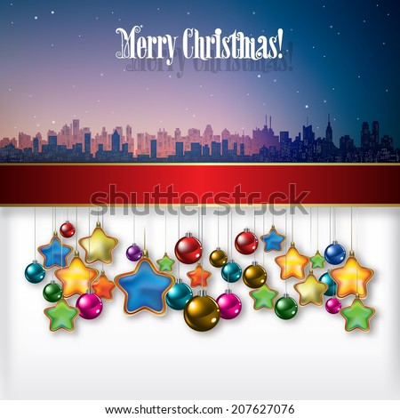 Abstract celebration background with Christmas decorations and silhouette of city - stock vector